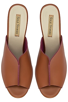 Tan and Purple Mule Block Heels by Sole Stories