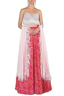 Grey Embellished Bustier with Hot Pink Lehenga Skirt Set by Soshai