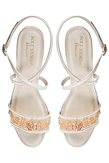 Champagne embroidered sandals by SOLE STORIES