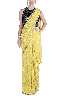 Lemon Yellow Embroidered Saree with Blouse by Soshai