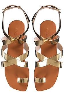 Gold criss cross metallic flats by SOLE STORIES