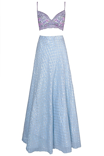 Sky Blue Embroidered Lehenga Set by Soshai