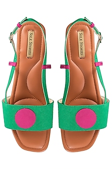 Green and pink backstrap flats by SOLE STORIES