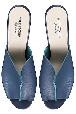 Blue with sea green two toned mules by SOLE STORIES