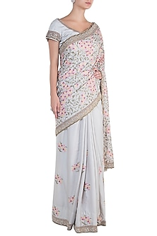 Antique Grey Embroidered Saree with Blouse by Soshai