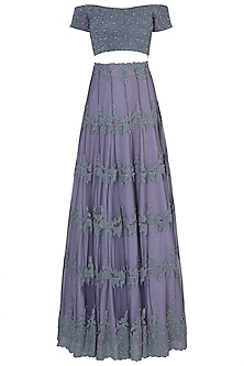 Purple Embroidered Lehenga Set by Soshai