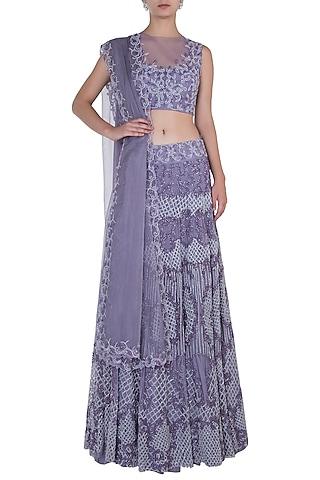 Lilac Embroidered Lehenga Set by Soshai