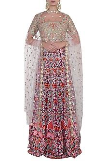 Magenta Embroidered Lehenga Set by Soshai