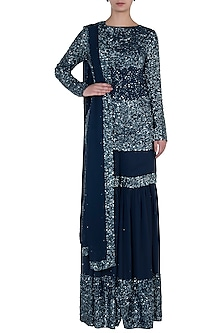 Mid-Night Blue Embroidered Sharara Set by Soshai