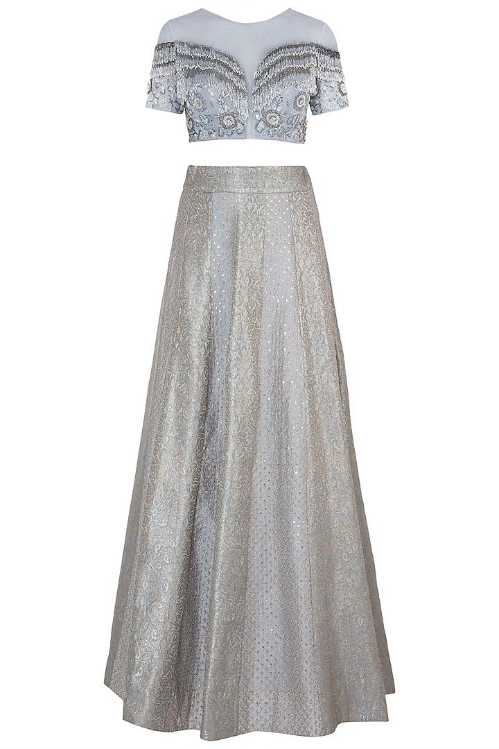 Silver Embroidered Lehenga Set by Soshai