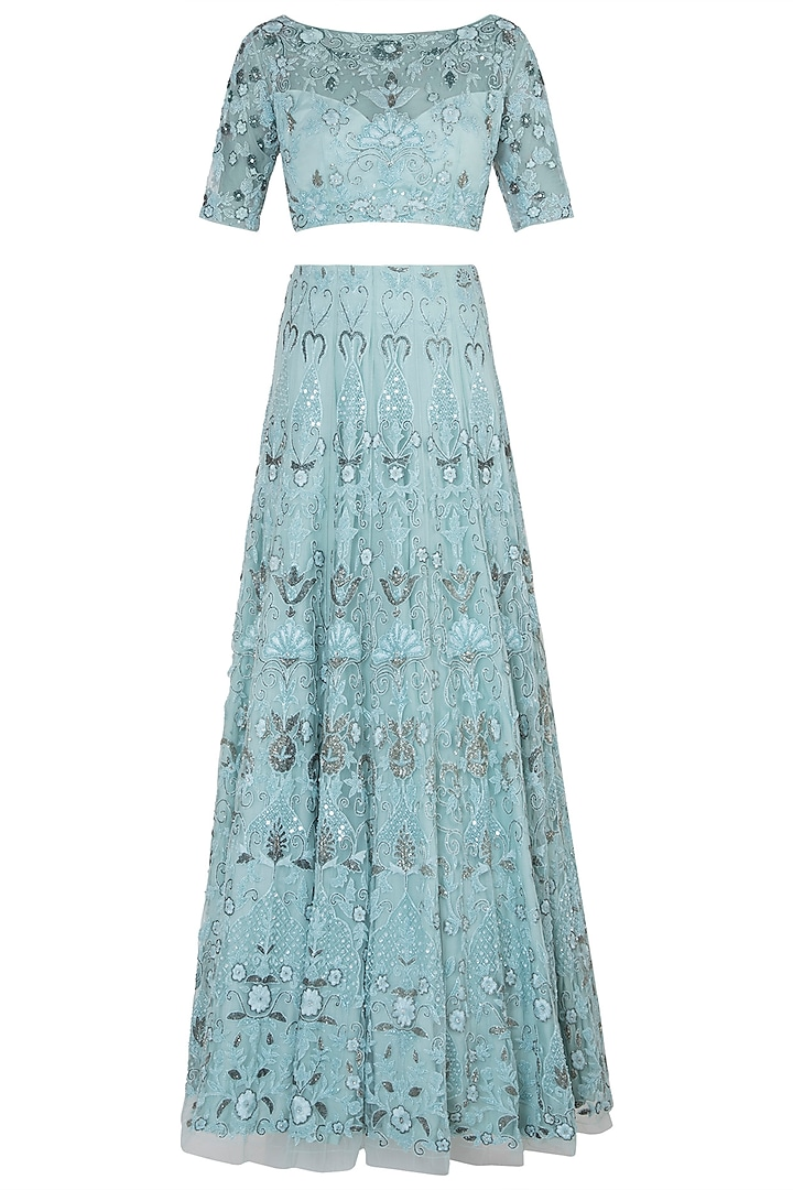 Pastel Turquoise Embroidered Lehenga Set by Soshai