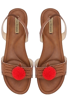 Tan Pom Pom Embellished Sandals by Sole Stories
