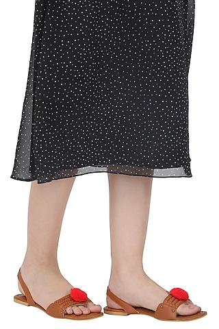 Tan Pom Pom Embellished Sandals by Sole Stories