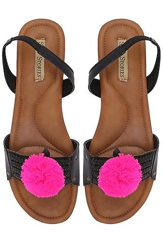 Black Pom Pom Embellished Sandals by Sole Stories