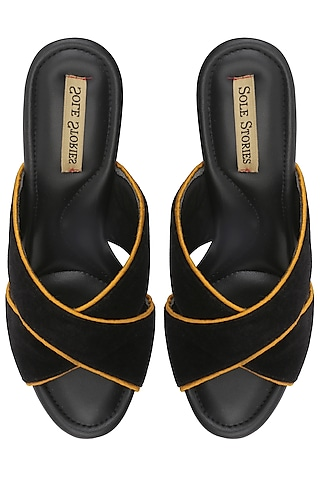 Black and Yellow Thread Embroidered Block Heels by Sole Stories
