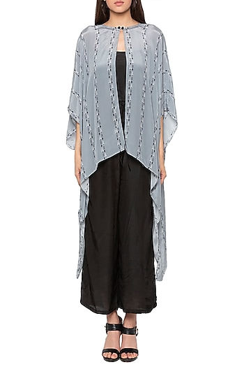 Black Jumpsuit With Powder Blue Printed Cape Jacket by Sous