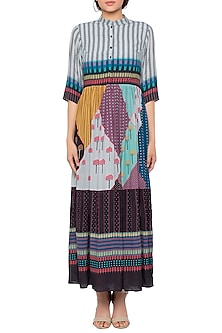 Multi Colored Gathered Maxi Dress by Sous