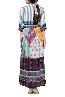 Multi Colored Gathered Maxi Dress by SO US By Sougat Paul