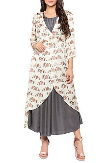 Ivory Printed Wrap Jacket With Grey Maxi Dress by Sous
