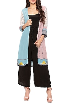 Black Jumpsuit With Blue & Nude Pink Printed Jacket by Sous
