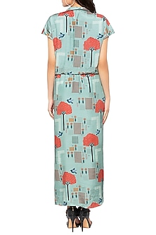 Blue Printed Drape Maxi Dress by Sous