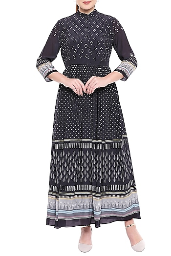 Black Printed Maxi Dress With Chinese Collar by Sous