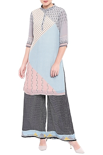 Powder Blue & Nude Pink Printed Tunic With Black Palazzo Pants by Sous