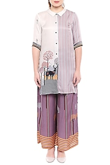 Lavender & Ivory Printed Long Top With Palazzo Pants by SO US By Sougat Paul