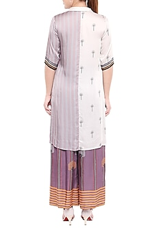 Lavender & Ivory Printed Long Top With Palazzo Pants by Sous