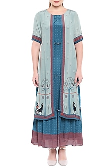 Blue Printed Maxi Dress by SO US By Sougat Paul