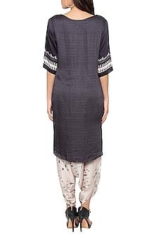 Black Printed High-Low Kurta With Dhoti Pants by Sous