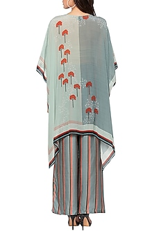Powder Blue & Grey Printed Cape Top With Palazzo Pants by Sous