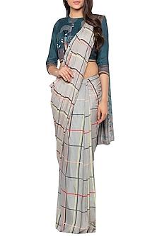 Grey & Blue Printed Drape Saree Set by Sous