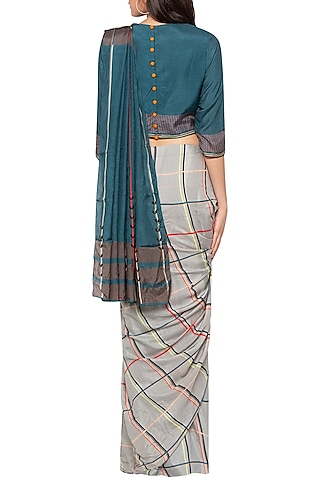 Grey & Blue Printed Drape Saree Set by SO US By Sougat Paul