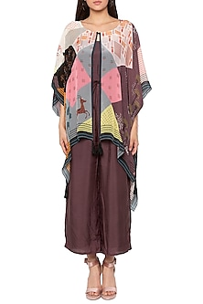Brown Jumpsuit With Printed Cape Jacket by SO US By Sougat Paul