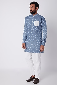 Sky Blue Horse Printed Kurta by SPRING BREAK