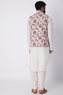 Blush Pink Printed Bundi Jacket by SPRING BREAK