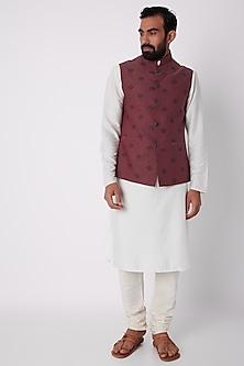 Wine Printed Bundi Jacket by SPRING BREAK