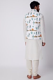 White Printed Bundi Jacket by SPRING BREAK