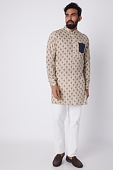 Beige Floral Printed Kurta by SPRING BREAK