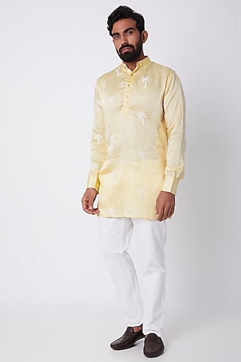 Yellow Palm Tree Embroidered Kurta by SPRING BREAK