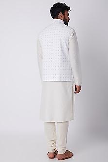 White & Blue Embroidered Bundi Jacket by SPRING BREAK
