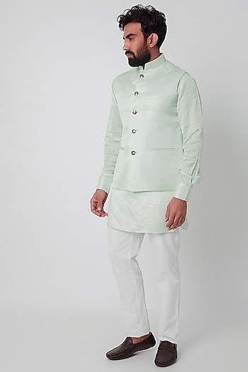Mint Green Bundi Jacket With Kurta Set by SPRING BREAK