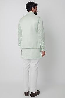 Mint Green Bundi Jacket With Kurta Set by SPRING BREAK