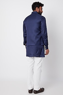 Navy Blue Bundi Jacket With Kurta Set by SPRING BREAK