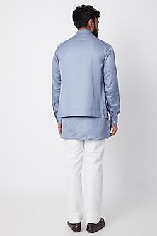 Sky Blue Bundi Jacket With Kurta Set by SPRING BREAK