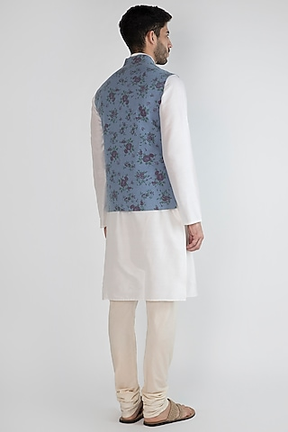Sky Blue Floral Printed Bundi Jacket by SPRING BREAK