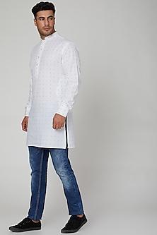 White Embroidered Cotton Kurta by Spring Break