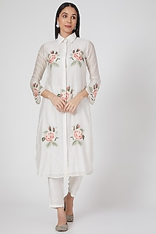 White Embroidered Long Kurta Set by Seams Pret & Couture