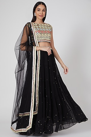 Black Embroidered Layered Lehenga Set by Seams Pret & Couture